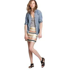 J Crew Factory Coral Metallic Striped Mini Skirt 6
